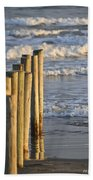 Fence Posts Into The Sea Beach Towel