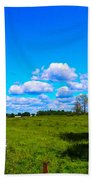 Fence Row And Clouds Beach Towel