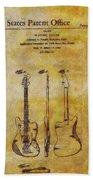 Fender Guitar Patent On Canvas Beach Towel