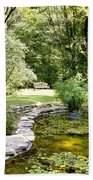 Fernwood Botanical Garden Frog Pond With Bench Niles Michigan Us Beach Towel