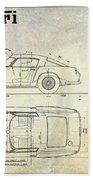 Ferrari 250 Gt Blueprint Antique Beach Towel