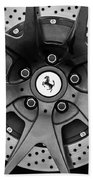 Ferrari Wheel Emblem - Brake Emblem -0430bw Beach Towel