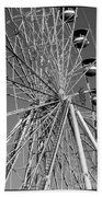 Ferris Wheel In Black And White Beach Towel