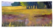 Field Grass Landscape Painting Beach Towel