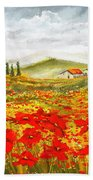 Field Of Dreams - Poppy Field Paintings Beach Towel