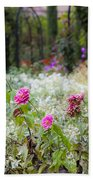 Field Of Flowers On A Rainy Day Beach Towel