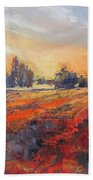 Field Of Light Oil Painting Beach Towel