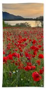 Field Of Poppies At The Lake Beach Towel