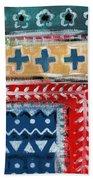 Fiesta 3- Colorful Pattern Painting Beach Towel by Linda Woods