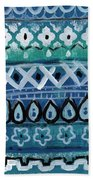 Fiesta In Blue- Colorful Pattern Painting Beach Towel by Linda Woods