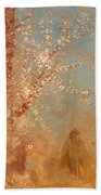 Figure Under A Blossoming Tree Beach Towel