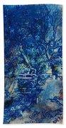 Figures On A Bridge Oil On Canvas Beach Towel