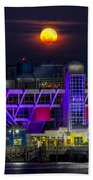 Final Moon Over The Pier Beach Towel