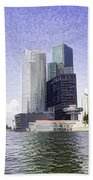 Financial District Of Singapore And View Of The Water Beach Towel