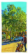 Fine Day For Baby Strollers And Bikes Art Of Montreal Street Scene Across Maitre Gourmet Cafe Beach Towel