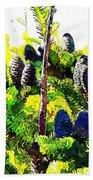 Fir Tree Buds Abstract Beach Towel