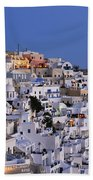 Fira Town During Dusk Time Beach Towel