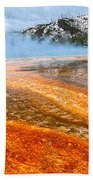 Fire And Ice - Grand Prismatic Spring On A Cloudy Day. Beach Towel