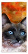 Fire And Ice - Siamese Cat Painting Beach Towel