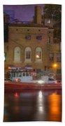Fire Boat On Cuyahoga River Beach Towel