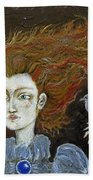 Fire Haired  Girl Beach Towel