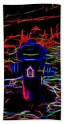 Fire Hydrant Bathed In Neon Beach Towel