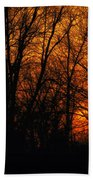 Fire In The Woods Sunset Beach Towel