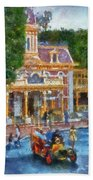 Fire Truck Main Street Disneyland Photo Art 02 Beach Towel