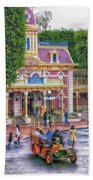 Fire Truck Main Street Disneyland Beach Towel