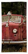 Fire Truck With Texture Beach Towel