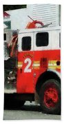 Fireman - Fire Engine In Front Of Fire Station Beach Towel