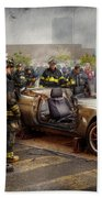 Firemen - The Fire Demonstration Beach Towel by Mike Savad