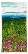 Fireweed And Mountains From Top Of The World Highway-yukon Beach Towel