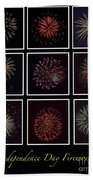 Fireworks - Black Background Beach Towel
