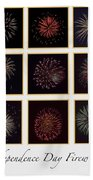 Fireworks - White Background Beach Towel