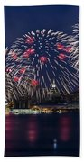 Fireworks And Full Moon Over New York City Beach Towel