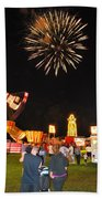 Fireworks At The Carnival Beach Towel