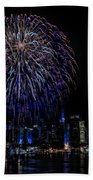 Fireworks In New York City Beach Towel by Susan Candelario