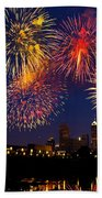 Fireworks In The City Beach Towel