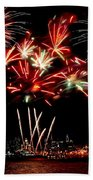 Fireworks Over The Delaware Beach Towel by Nick Zelinsky