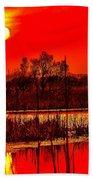 Firey Dawn Over The Marsh Beach Towel