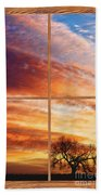 First Dawn Barn Wood Picture Window Frame View Beach Towel