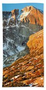 First Light At Longs Peak Beach Towel by Eric Glaser