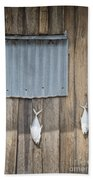 Fish Drying Outside Fisherman House Beach Towel