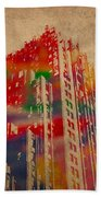 Fisher Building Iconic Buildings Of Detroit Watercolor On Worn Canvas Series Number 4 Beach Towel by Design Turnpike