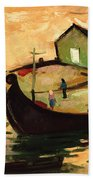 Fishing Barges On The River Sugovica Beach Towel