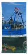 Fishing Boart Repairs Essaouira Morocco Beach Towel by Richard Harpum