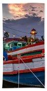 Fishing Boat Beach Towel by Adrian Evans