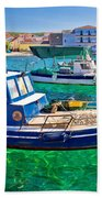 Fishing Boat On Turquoise Sea Beach Towel