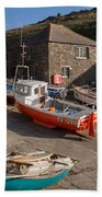 Fishing Boats At Mullion Cove Beach Towel
